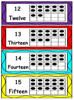Math Word wall number Cards #0-20 in 10 frames