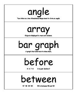Math Vocabulary Cards - 2nd Grade