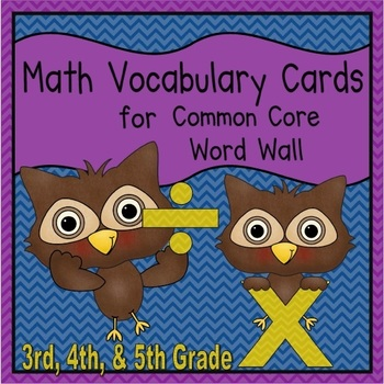 Math Vocabulary Cards (3rd, 4th, & 5th Common Core)
