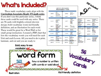 Math Vocabulary Cards { 4th Grade Ready TN }