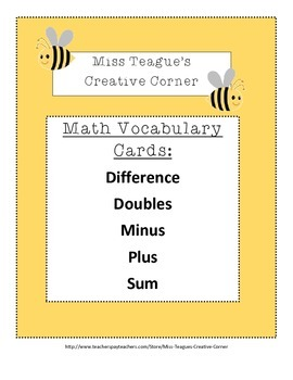 Math Vocabulary Cards: Addition and Subtraction