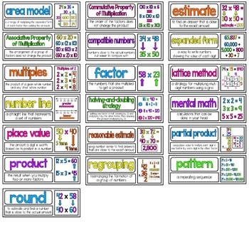 Math Vocabulary Cards Aligned to 4th Grade GO Math! Chapter 3