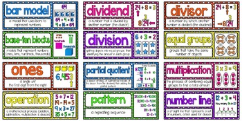 Math Vocabulary Cards Aligned to 4th Grade GO Math! Chapter 4