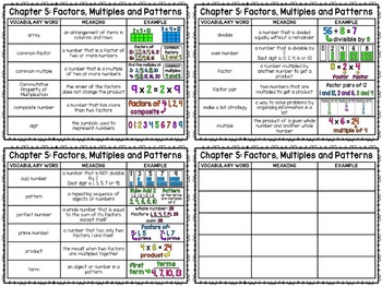 Math Vocabulary Cards Aligned to 4th Grade GO Math! Chapter 5