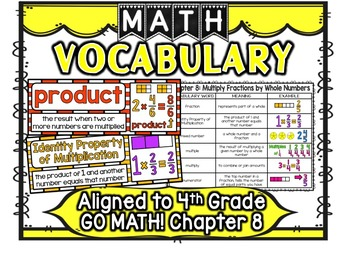 Math Vocabulary Cards Aligned to 4th Grade GO Math! Chapter 8