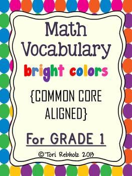 Math Vocabulary Cards BRIGHT COLORS {Grade 1 Common Core}