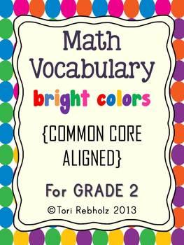 Math Vocabulary Cards BRIGHT COLORS {Grade 2 Common Core}