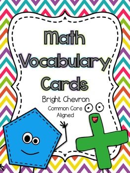 Math Vocabulary Cards- Common Core Aligned for 2nd Grade (Bright Chevron)