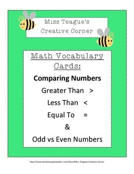 Math Vocabulary Cards: Comparing Numbers