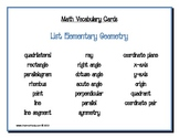 Math Vocabulary Cards: Elementary Geometry