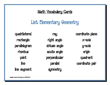Math Vocabulary Cards: Elem... by That Math Lady   Teachers Pay ...