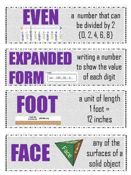 Math Vocabulary Cards {Grade 2 Common Core}