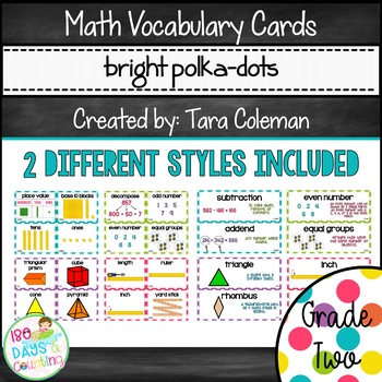 Math Vocabulary Cards - Grade 2 (bright polkadots)