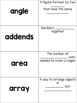 Math Vocabulary Cards: Words and Definitions