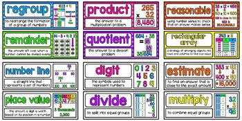 Math Vocabulary Cards Aligned to 4th Grade Math in Focus ~ Chapter 3