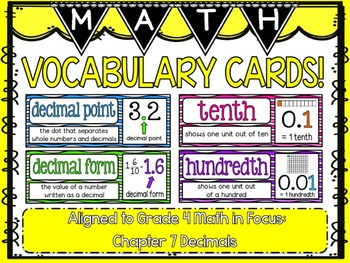 Math Vocabulary Cards- aligned to Grade 4 Math In Focus Chapter 7