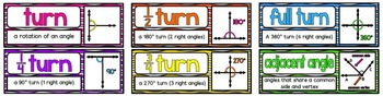 Math Vocabulary Cards- aligned to Grade 4 Math In Focus Chapter 9 Angles
