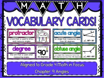 Math Vocabulary Cards- aligned to Grade 4 Math In Focus Ch