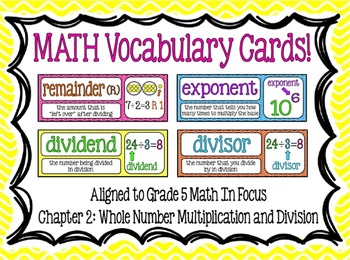 Math Vocabulary Cards- aligned to Grade 5 Math In Focus Chapter 2