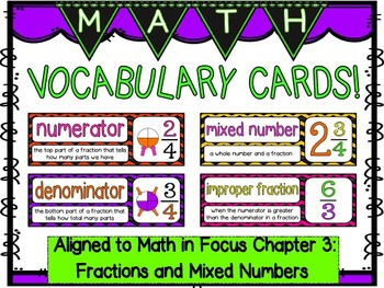 Math Vocabulary Cards- aligned to Grade 5 Math In Focus Chapter 3