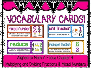 Math Vocabulary Cards- aligned to Grade 5 Math In Focus Chapter 4