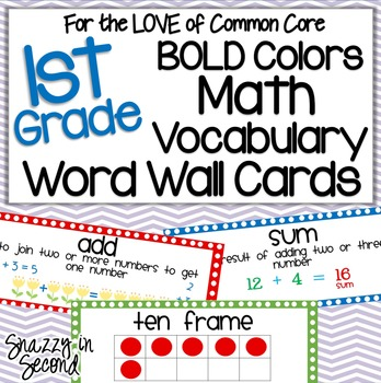 Math Vocabulary Cards for 1st Grade [BOLD Colors] {Common Core}