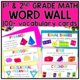 Editable Math Vocabulary Cards for First & Second Grade Word Walls