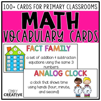 Math Vocabulary Cards for First & Second Grade Word Walls