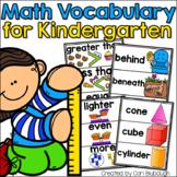 Math Vocabulary Cards for Kindergarten