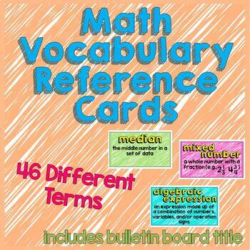 Math Vocabulary Cards (higher level words) – 46 terms – Color