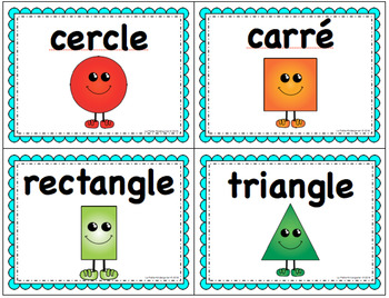 Math Vocabulary Cards in English and in French