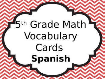 Math Vocabulary Cards in Spanish