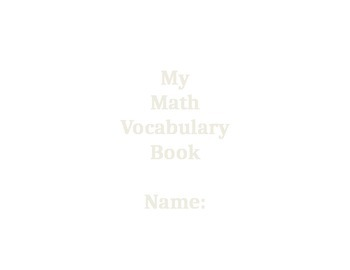 Math Vocabulary Center-rubric, directions, and booklet included.