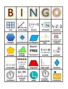 Math Vocabulary Activity Bingo Game 4th Grade