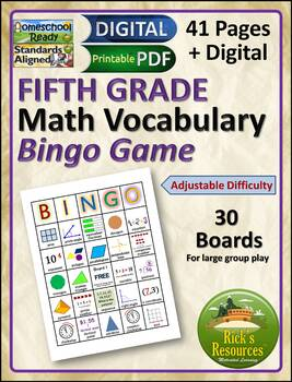 Math Vocabulary Words Practice and Review for 5th Grade - Bingo Game