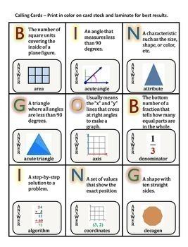 Math Vocabulary Activity Bingo Game 5th Grade