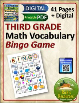 Math Vocabulary Words Practice and Review for 3nd Grade - Bingo Game