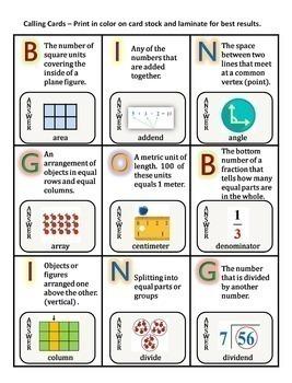Math Vocabulary Activity Bingo Game 3rd Grade