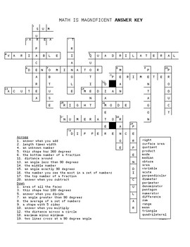 Math Test Prep Vocabulary Cross Word Puzzle 3 (5th Grade)
