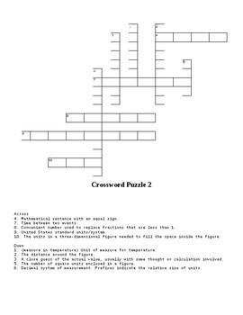 Math Vocabulary Crossword Puzzles