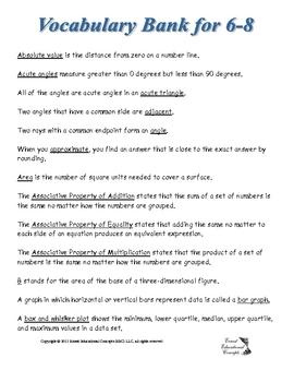 Math Vocabulary Definition Bank Grades 6-8