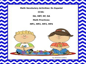 Math Vocabulary Development Packet - en Espanol