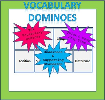 Math Vocabulary Dominoes - 1st Grade (TEKS Aligned)