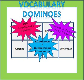 Math Vocabulary Dominoes - 2nd Grade (TEKS Aligned)
