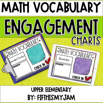 Math Vocabulary Engagement Charts Unit 3