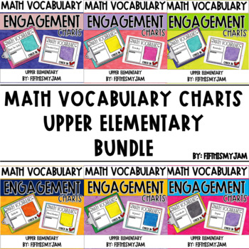 Math Vocabulary Engagement Charts Units 1 - 6 Bundle!