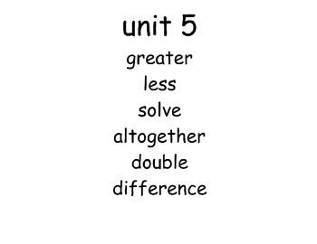 Math Vocabulary First Grade EDM Unit 5