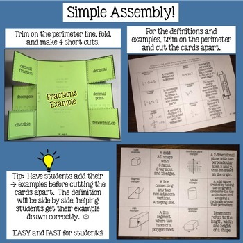 Geometry Math Vocabulary Flaps Interactive Notebook Foldables Grade 4