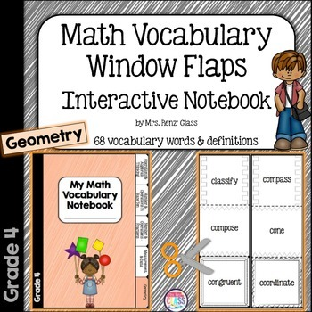 Geometry Math Vocabulary Interactive Notebook Foldables Grade 4