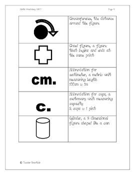 Math Vocabulary Flashcards Set 1